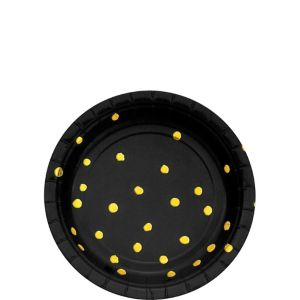 Metallic Gold Polka Dot Black Dessert Plates 8ct