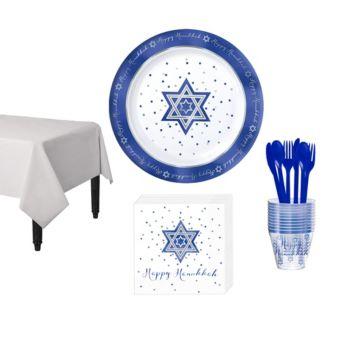 Happy Hanukkah Premium Tableware Kit for 10 Guests