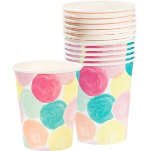 Watercolor Dots & Stripes Cups 12ct