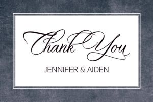 Custom Chalkboard with Border Wedding Thank You Note