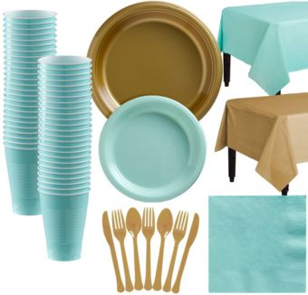 Gold & Robin's Egg Blue Plastic Tableware Kit for 50 Guests