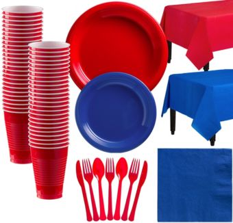 Red & Royal Blue Plastic Tableware Kit for 50 Guests