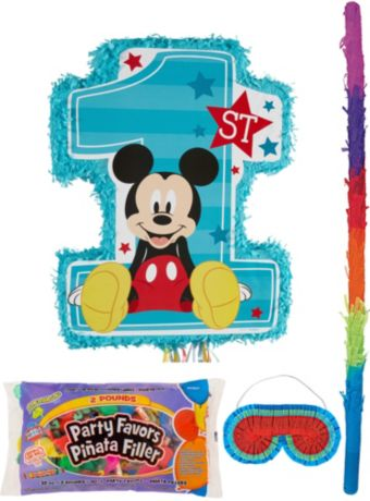 1st Birthday Mickey Mouse Pinata Kit with Candy & Favors