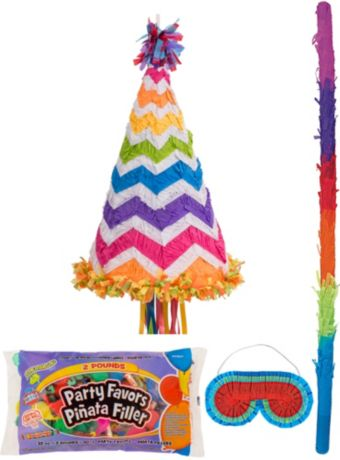 Bright Rainbow Chevron Party Hat Pinata Kit with Candy & Favors