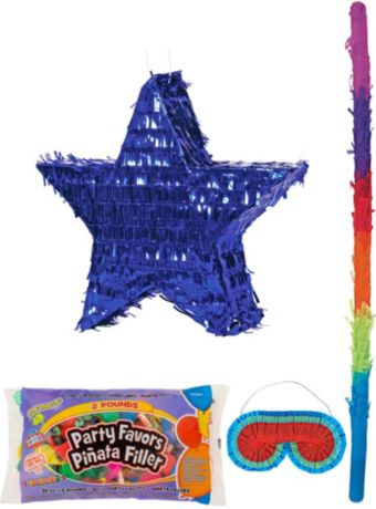 Foil Blue Star Pinata Kit with Candy & Favors