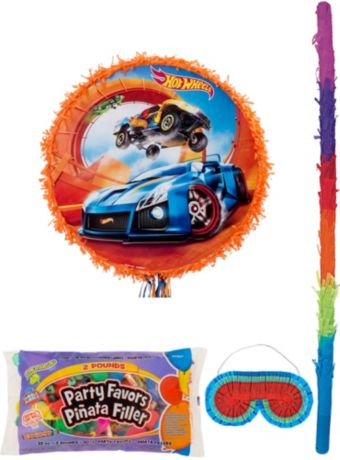 Orange Hot Wheels Pinata Kit with Candy & Favors