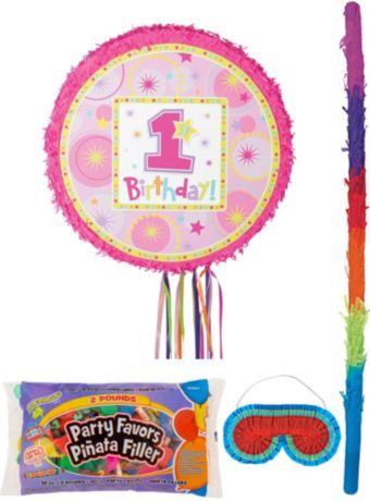 Round Pink 1st Birthday Pinata Kit with Candy & Favors