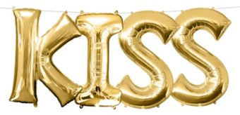 Air-Filled Gold Kiss Letter Balloon Kit