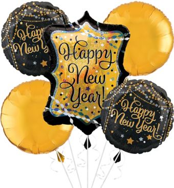 Black, Gold & Silver Happy New Year Balloon Kit