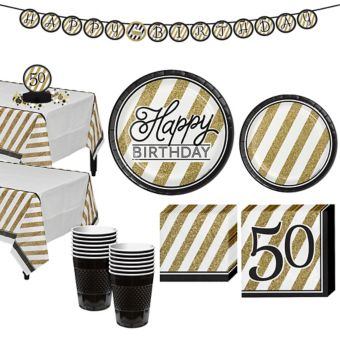 White & Gold Striped 50th Birthday Party Kit for 16 Guests