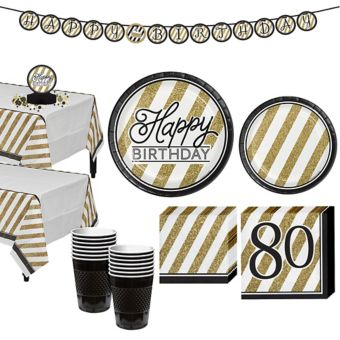White & Gold Striped 80th Birthday Party Kit for 16 Guests