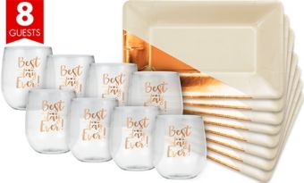 Metallic Copper & Cream Cocktail Party Kit for 8 Guests