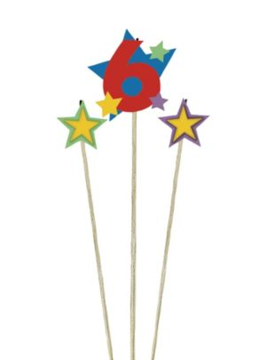 Number 6 Star Birthday Toothpick Candles 3ct