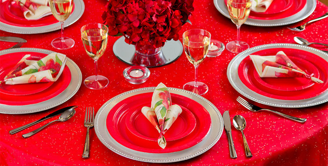 solid red tableware #4