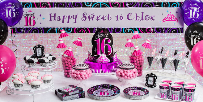 Sweet 16 Sparkle Party Supplies Sweet 16 Birthday