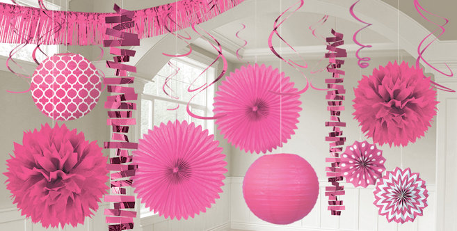 Bright Pink Decorations Bright Pink Balloons Banners