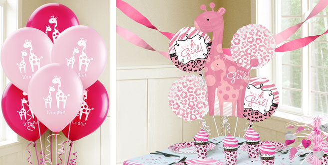 pink wild safari baby shower balloons party city baby shower invitations - Party City Baby Shower Invites
