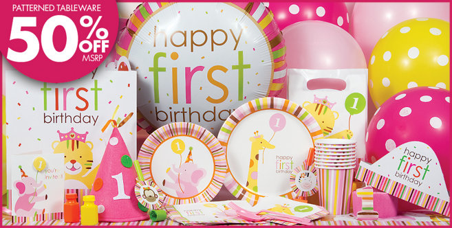 Sweet at One Girls 1st Birthday Party Supplies - Party City
