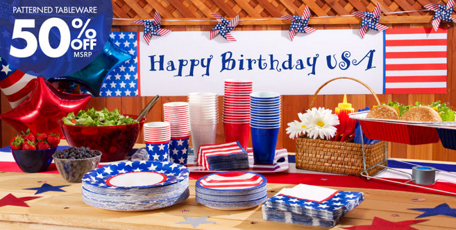 Red white and blue stars party supplies party city - Red white and blue party ideas ...