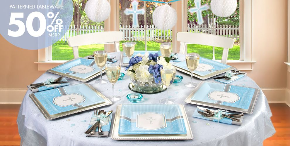 Blue Communion Blessings Party Supplies
