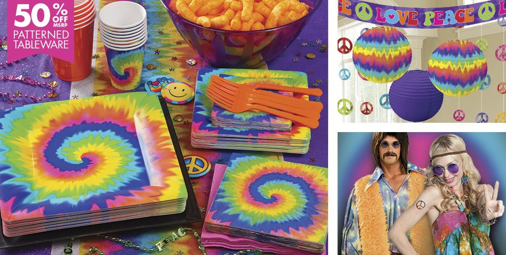 Tie dye 60s theme party supplies party city for 70 s decoration ideas