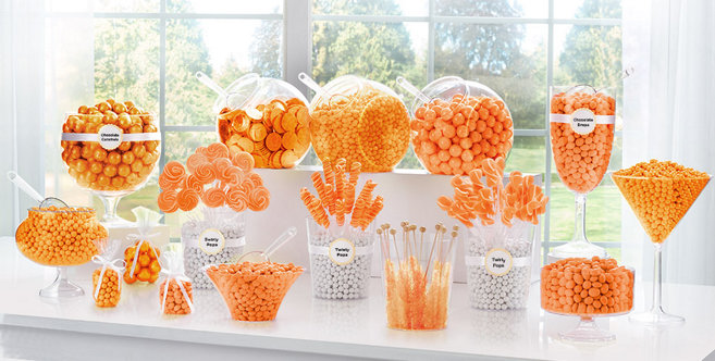 Candy buffet ideas 50s theme party party city - Orange Candy Buffet Supplies Orange Candy Amp Containers