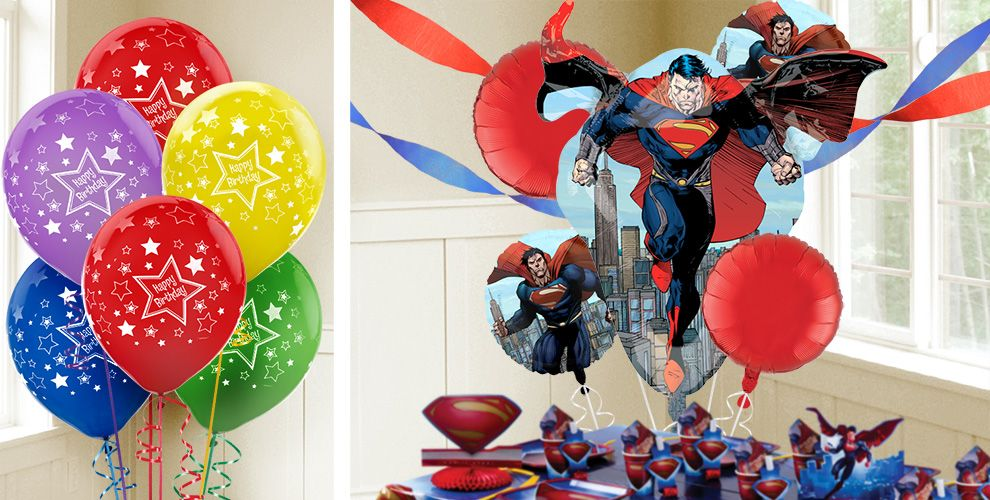 Superman Balloons Themed Birthday Balloons Birthday