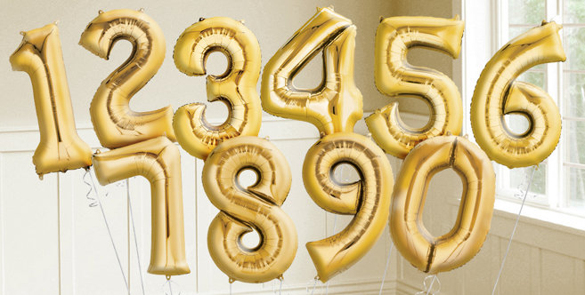 gold number balloons party city