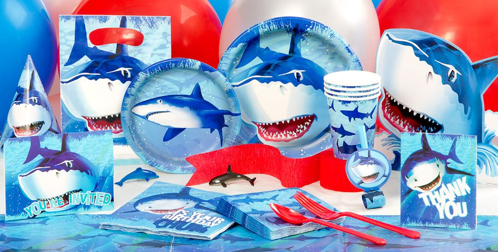 Shark Party Supplies Shark Birthday Decorations Party City – Shark Invitations Birthday Party