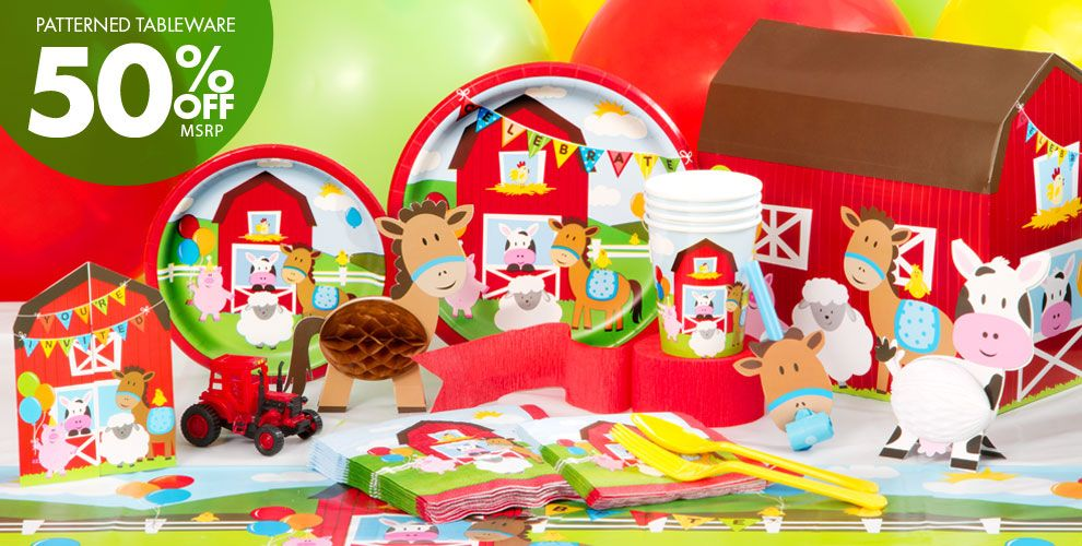 Farmhouse fun birthday party supplies party city canada for Animals decoration games