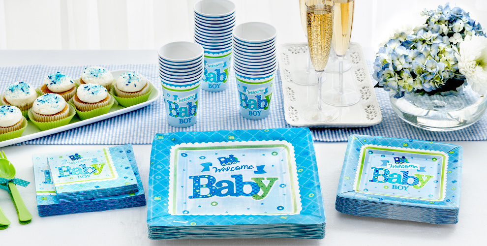 Boy welcome baby party supplies welcome little one for Welcome home party supplies decorations