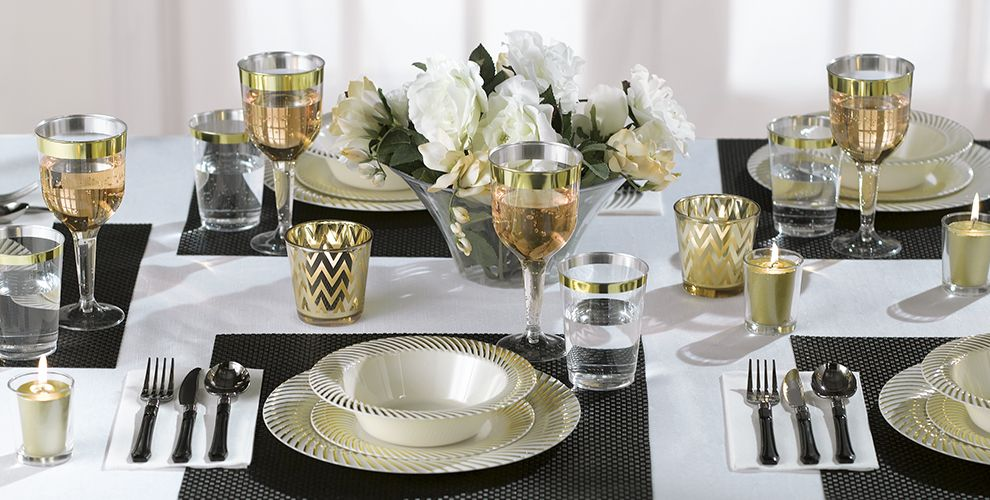 cream gold swirl border premium tableware party city