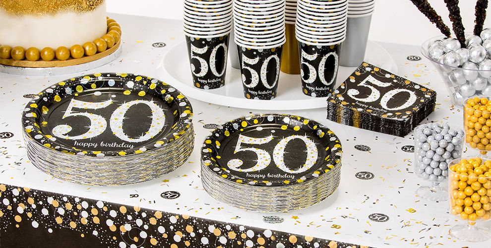 Patterned Tableware 50 OFF MSRP Sparkling Celebration 50th Birthday Party Supplies