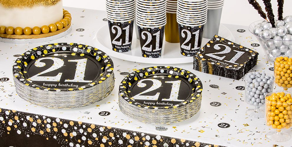 Patterned Tableware 50% OFF MSRP — Sparkling Celebration 21st Birthday Party Supplies