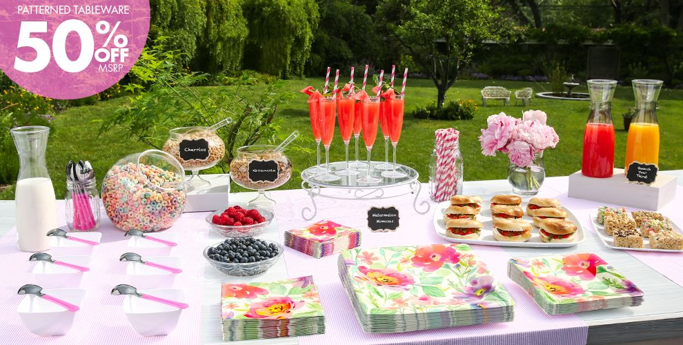 Watercolor Floral Rise and Shine Brunch Party Supplies