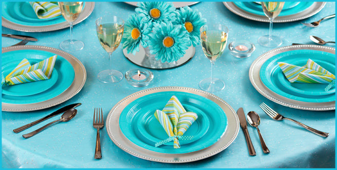 Solid Caribbean Blue Tableware #2