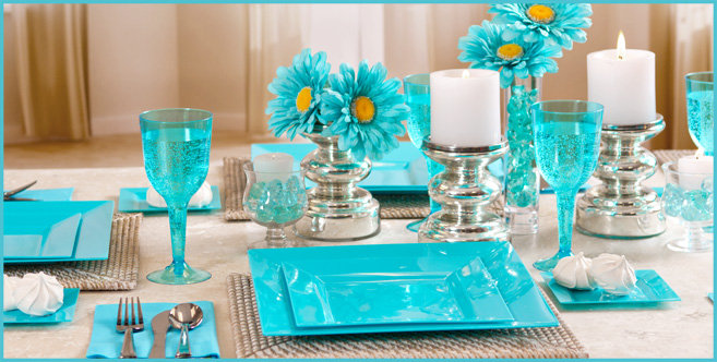 Caribbean Blue Favor Boxes : Caribbean blue tableware party supplies