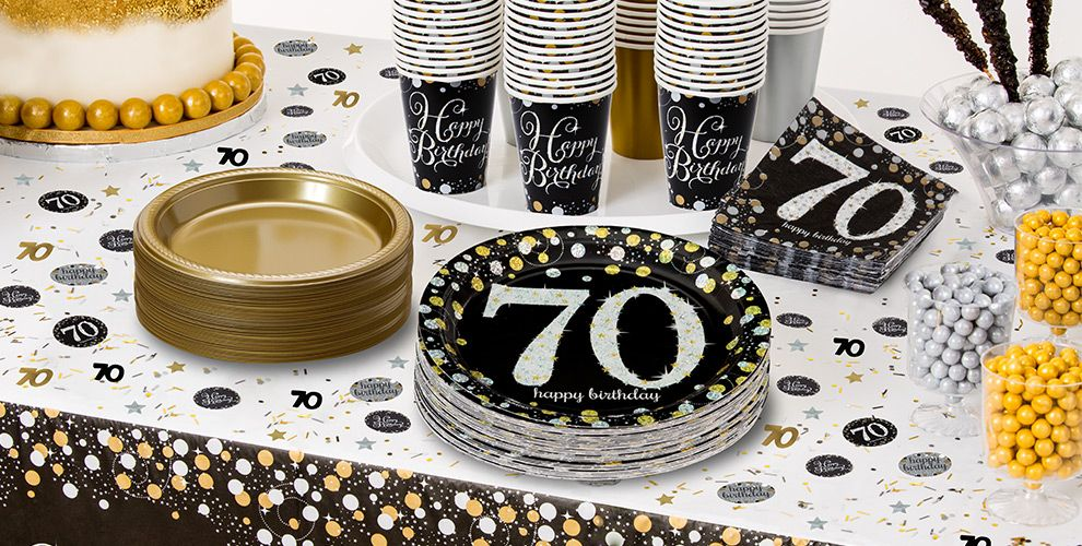 Sparkling celebration 70th birthday party supplies party for Decoration 70th birthday