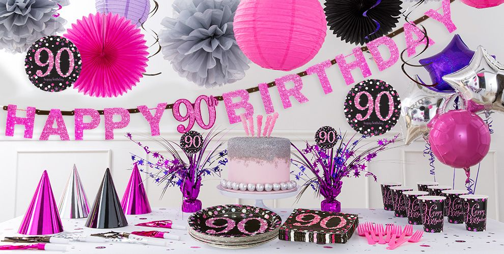 Pink sparkling celebration 90th birthday party supplies for 90th birthday decoration ideas