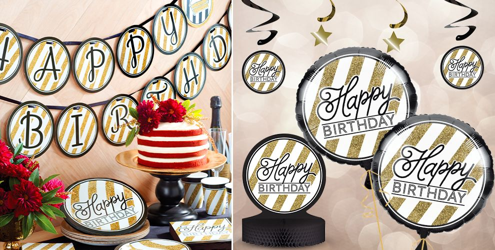White and Gold Striped Birthday Party Supplies
