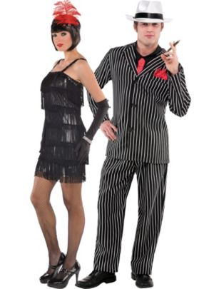 Flashy Flapper and Mob Boss Couples Costumes