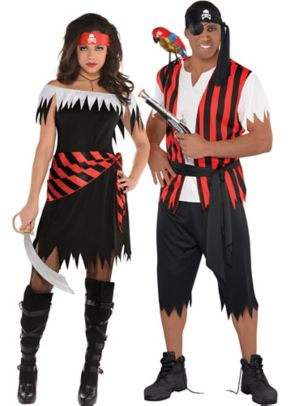 Adult Ahoy Katie Pirate & Ahoy Matey Pirate Couples Costumes