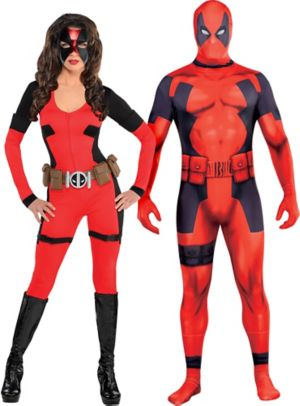 Adult Lady Deadpool & Deadpool Partysuit Couples Costumes