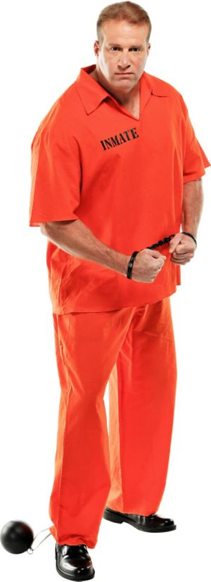 Adult Inmate Convict Prisoner Costume Plus Size