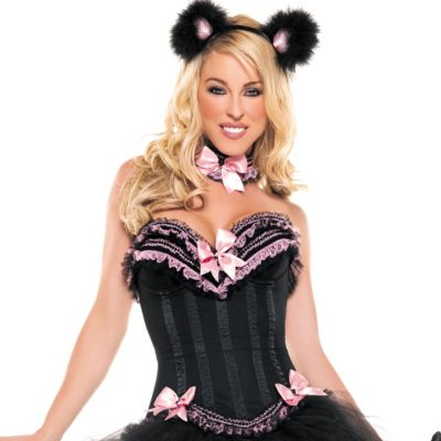Black and Pink Carousel Corset Premier
