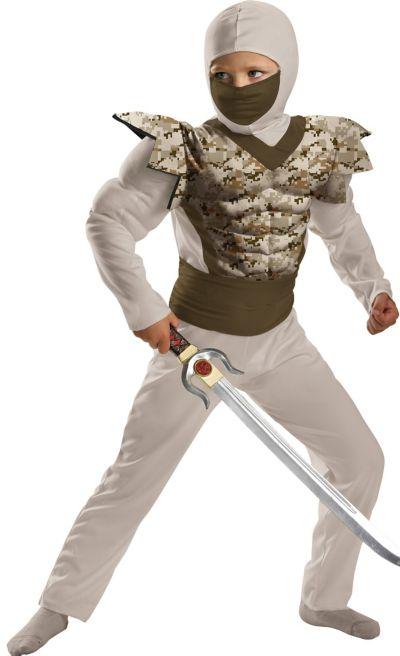 Boys Desert Camo Ninja Muscle Costume
