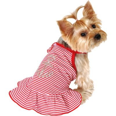 Red Stripe Anchor Dog Dress