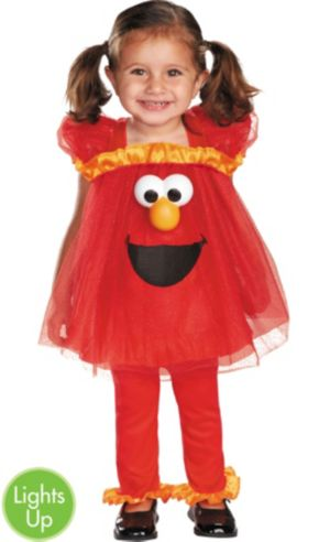 Toddler Girls Frilly Elmo Light Up Costume - Sesame Street