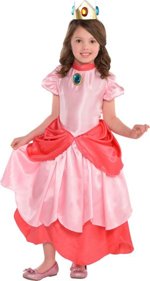 Girls Princess Peach Costume Deluxe - Super Mario