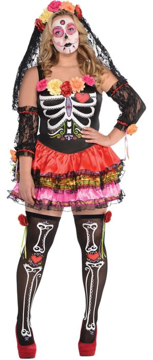 Adult Day of the Dead Senorita Costume Plus Size
